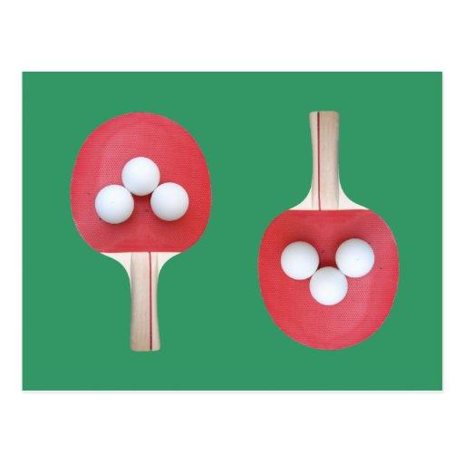 Paleta y bolas del ping-pong tarjeta postal