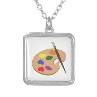 Palette & Brush Square Pendant Necklace