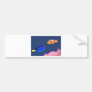 Palette surgeonfish and clown fish swimming bumper sticker