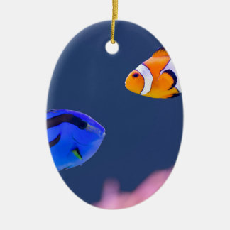 Palette surgeonfish and clown fish swimming ceramic ornament