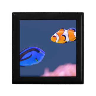 Palette surgeonfish and clown fish swimming jewelry box