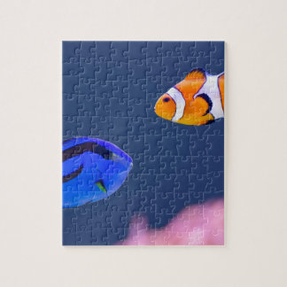 Palette surgeonfish and clown fish swimming jigsaw puzzle