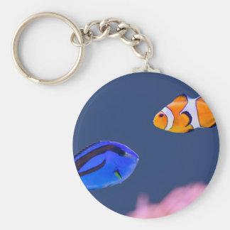 Palette surgeonfish and clown fish swimming keychain