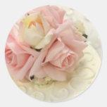 Palidezca - a los pegatinas color de rosa rosados  etiquetas redondas
