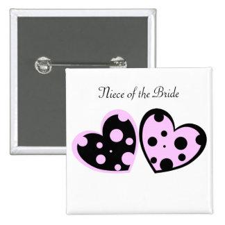 Palidezca - el botón rosado y negro de los corazon pin cuadrado