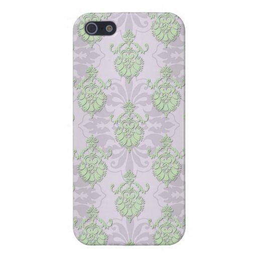 Palidezca - el damasco blanco verde y plateado iPhone 5 protectores
