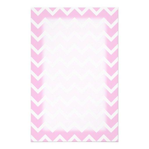 Palidezca - el modelo de zigzag rosado y blanco papelería de diseño