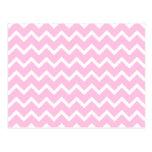 Palidezca - el modelo de zigzag rosado y blanco tarjetas postales