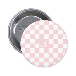 Palidezca - el monograma a cuadros rosado y blanco chapa redonda 5 cm