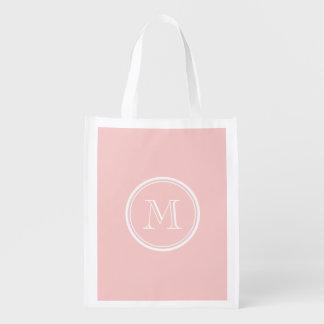 Palidezca - el monograma coloreado parte alta rosa bolsa para la compra