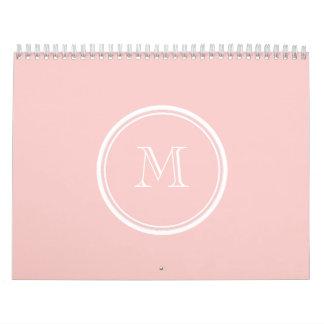 Palidezca - el monograma coloreado parte alta rosa calendario de pared