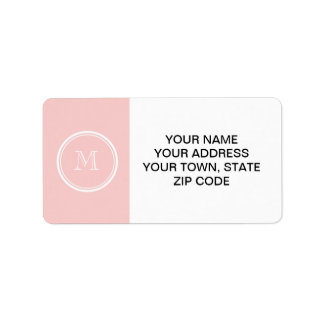 Palidezca - el monograma coloreado parte alta rosa etiqueta de dirección