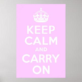 Palidezca - el rosa guarda calma y continúa posters