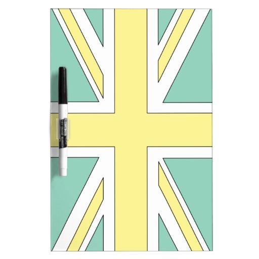 Palidezca - la bandera amarilla verde de Union Jac Pizarra Blanca