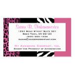 Palidezca - la cebra y el leopardo rosados y negro plantillas de tarjetas de visita
