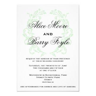 Palidezca - la invitación verde del boda de la