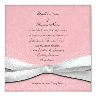 """Palidezca - las invitaciones florales rosadas y invitación 5.25"""" x 5.25"""""""