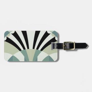Palidezca - las líneas geométricas verdes etiqueta para maleta