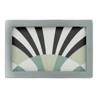 Palidezca - las líneas geométricas verdes hebillas de cinturón rectangulares