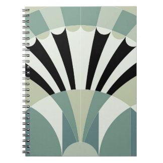 Palidezca - las líneas geométricas verdes libreta espiral