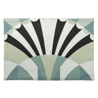 Palidezca - las líneas geométricas verdes mantel individual