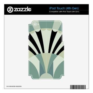 Palidezca - las líneas geométricas verdes iPod touch 4G calcomanía