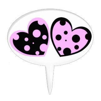 Palidezca - los corazones rosados y negros apelmaz decoraciones para tartas