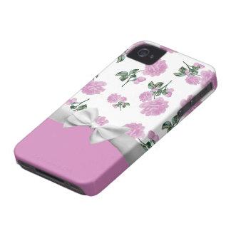 Palidezca - los rosas rosados con la cinta blanca iPhone 4 funda