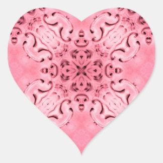 Palidezca - los sellos rosados del damasco pegatina en forma de corazón