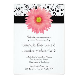 Pálido - boda rosado del diseño de la voluta de la invitación 12,7 x 17,8 cm