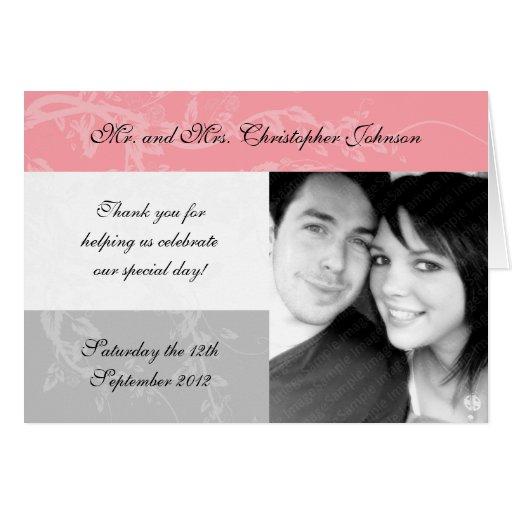 Pálido - el boda rosado y gris le agradece las tarjeta de felicitación