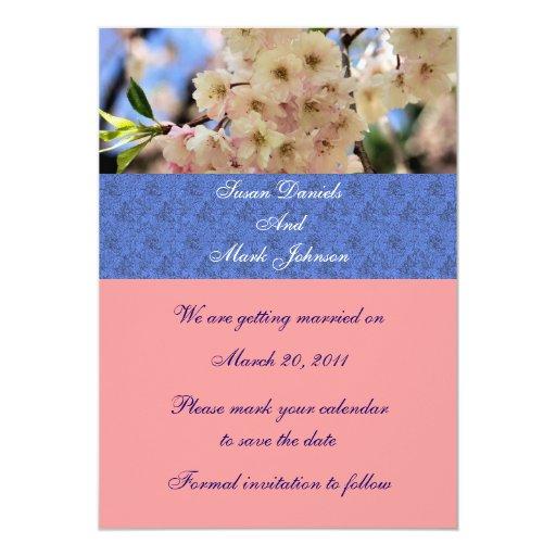 Pálido - reserva floral del boda de los flores del invitación 12,7 x 17,8 cm