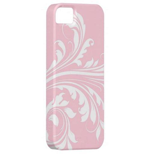 Pálido - rosa con las hojas de Swirly Funda Para iPhone SE/5/5s