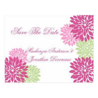 Pálido rosado - los pétalos verdes de la flor tarjeta postal