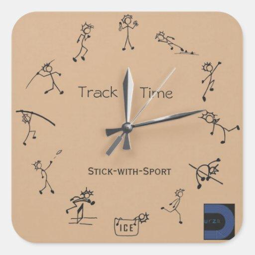 Palillo con el pegatina del reloj del deporte