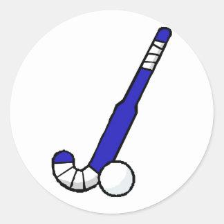 Palillo de hockey hierba azul etiqueta redonda