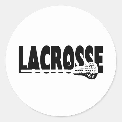 Palillo de LaCrosse blanco y negro Etiqueta Redonda