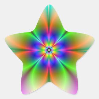 Palillo de neón del fractal de la flor pegatina en forma de estrella