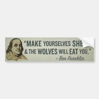 Palillo del parachoque de la cita de Franklin de l Etiqueta De Parachoque