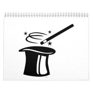 Palillo del sombrero de copa del mago calendarios de pared