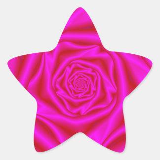 Palillo espiral color de rosa rosado pegatina en forma de estrella