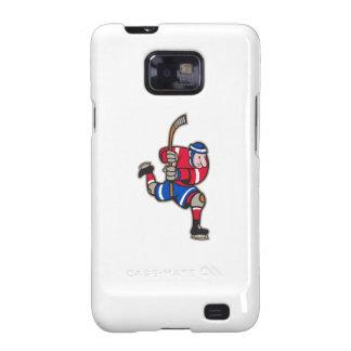 Palillo llamativo del jugador del hockey sobre hie galaxy s2 carcasas