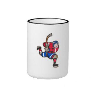 Palillo llamativo del jugador del hockey sobre hie tazas de café