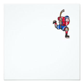 Palillo llamativo del jugador del hockey sobre invitacion personalizada