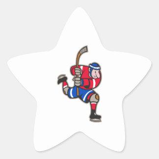 Palillo llamativo del jugador del hockey sobre calcomanía forma de estrellae
