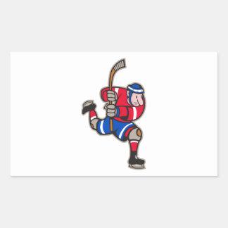 Palillo llamativo del jugador del hockey sobre rectangular pegatinas