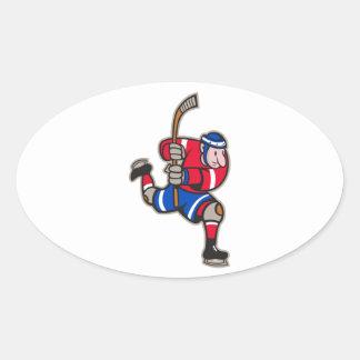 Palillo llamativo del jugador del hockey sobre pegatina de oval