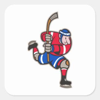 Palillo llamativo del jugador del hockey sobre calcomania cuadradas