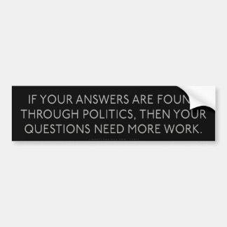 Palillo político del parachoque de las preguntas d pegatina para auto