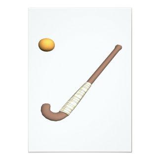 """Palillo y bola de hockey hierba invitación 5"""" x 7"""""""